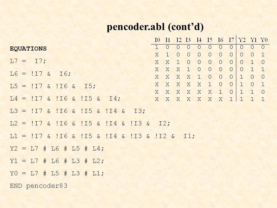 pencoder.abl (cont'd) EQUATIONS L7 = I7; L6 = !I7 & I6; L5 = !I7 & !I6 & I5; L4 = !I7 & !I6 & !I5 & I4; L3 = !I7 & !I6 & !I5 & !I4 & I3; L2 = !I7 & !I6 & !I5 & !I4 & !I3 & I2; L1 = !I7 & !I6 & !I5 & !I4 & !I3 & !I2 & I1; Y2 = L7 # L6 # L5 # L4; Y1 = L7 # L6 # L3 # L2; Y0 = L7 # L5 # L3 # L1; END pencoder83
