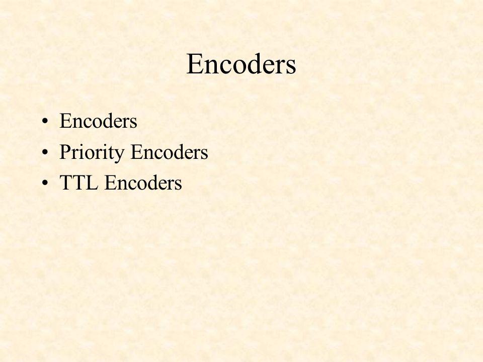 Encoders Priority Encoders TTL Encoders