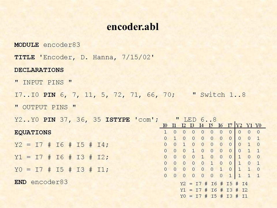 encoder.abl MODULE encoder83 TITLE Encoder, D.