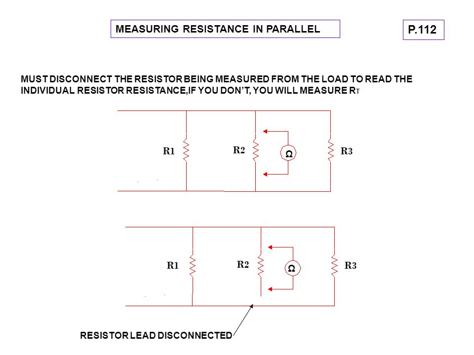 MEASURING RESISTANCE IN PARALLEL MUST DISCONNECT THE RESISTOR BEING MEASURED FROM THE LOAD TO READ THE INDIVIDUAL RESISTOR RESISTANCE,IF YOU DON'T, YO