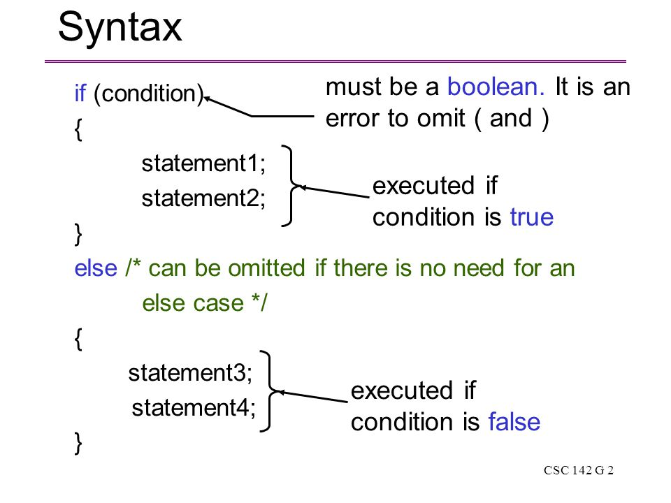 CSC 142 G 2 Syntax if (condition) { statement1; statement2; } else /* can be omitted if there is no need for an else case */ { statement3; statement4; } must be a boolean.