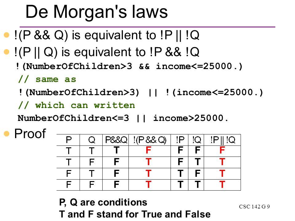 CSC 142 G 9 De Morgan s laws  !(P && Q) is equivalent to !P || !Q  !(P || Q) is equivalent to !P && !Q !(NumberOfChildren>3 && income<=25000.) // same as !(NumberOfChildren>3) || !(income<=25000.) // which can written NumberOfChildren 25000.