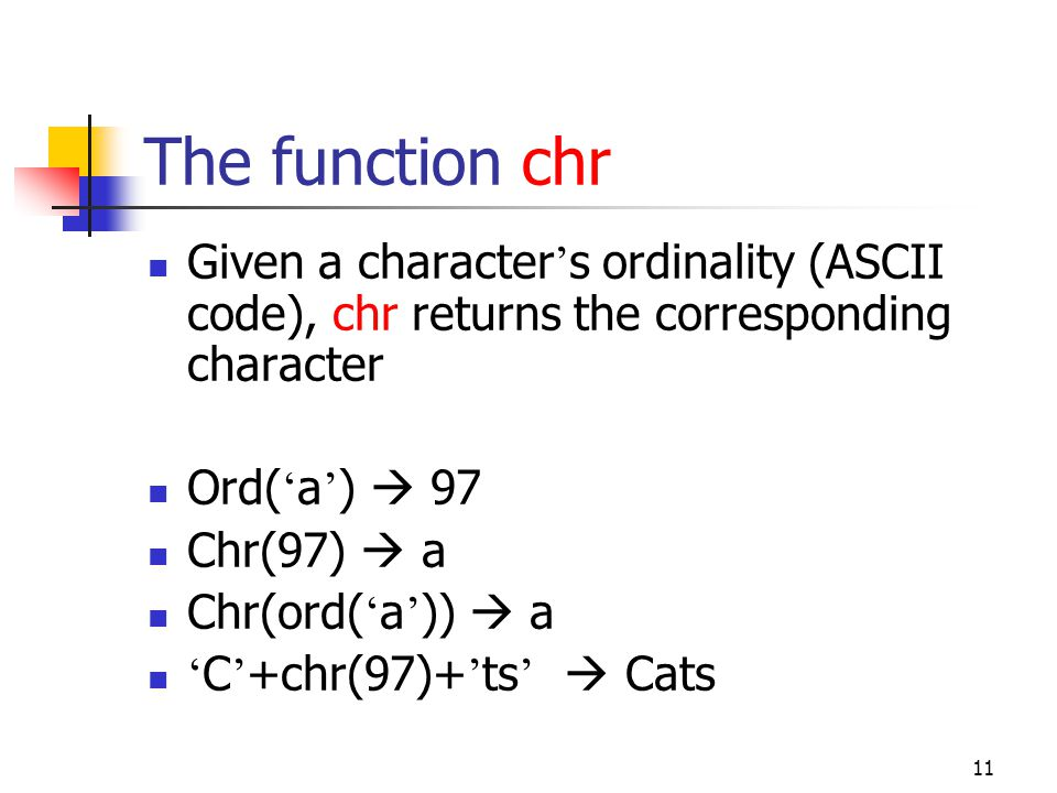 10 Char Data Type Char can hold exactly one character Program char_input; Var c1, c2, c3, c4, c5, c6, c7: char; i1, i2, i3: integer; Begin read (c1, c