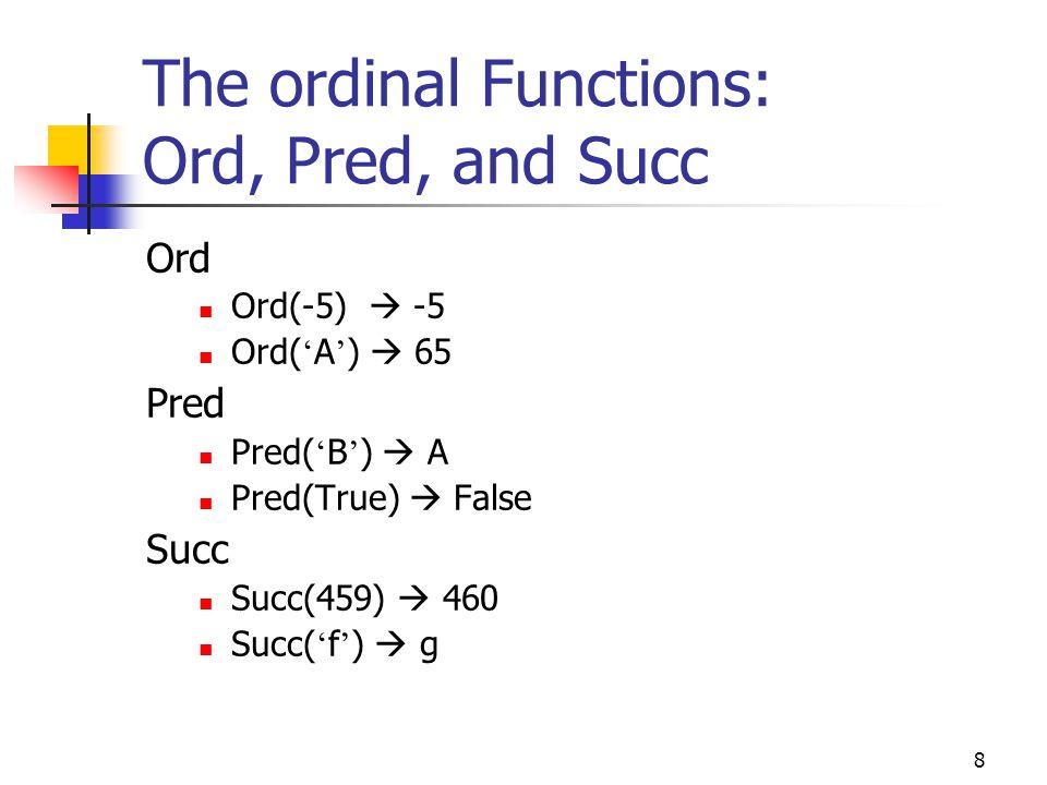 7 The ordinal Functions: Ord, Pred, and Succ Data TypeParameterOrdSuccPred Integer15 1614 001 -30 -29-31 BooleanFalse0TrueUndefined True1UndefinedFals