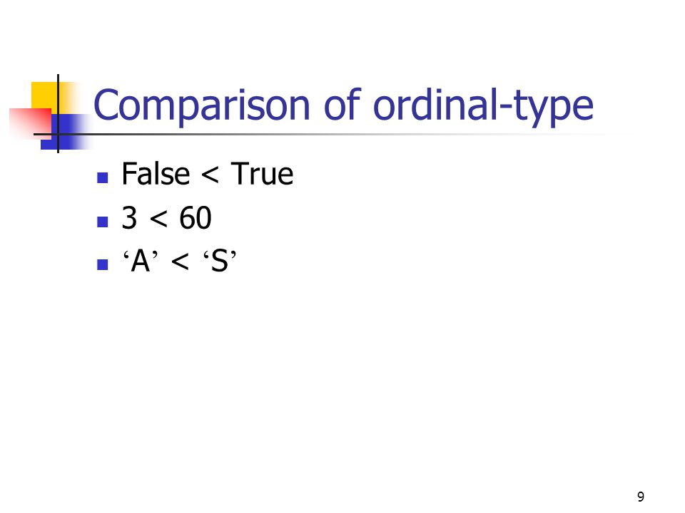 8 The ordinal Functions: Ord, Pred, and Succ Ord Ord(-5)  -5 Ord( ' A ' )  65 Pred Pred( ' B ' )  A Pred(True)  False Succ Succ(459)  460 Succ( ' f ' )  g
