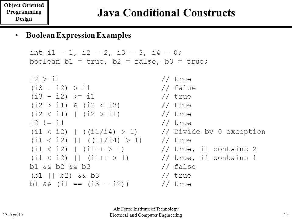 Air Force Institute of Technology Electrical and Computer Engineering 13-Apr-1515 Object-Oriented Programming Design Java Conditional Constructs Boole