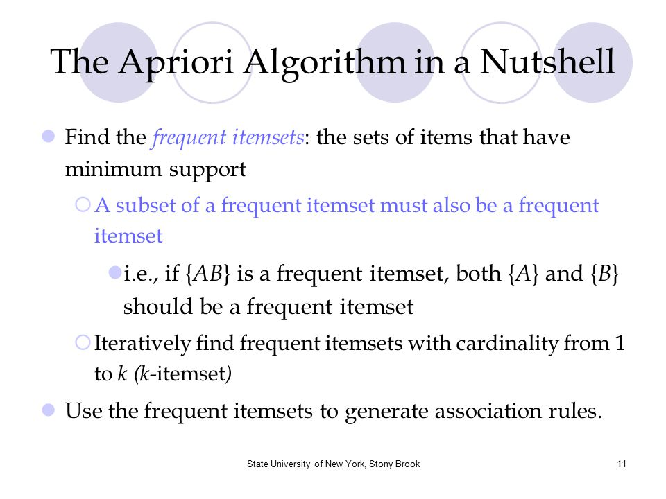 State University of New York, Stony Brook12 The Apriori Algorithm : Pseudo code Join Step: C k is generated by joining L k-1 with itself Prune Step: Any (k-1)-itemset that is not frequent cannot be a subset of a frequent k-itemset Pseudo-code: C k : Candidate itemset of size k L k : frequent itemset of size k L 1 = {frequent items}; for ( k = 1; L k !=  ; k ++) do begin C k+1 = candidates generated from L k ; for each transaction t in database do increment the count of all candidates in C k+1 that are contained in t L k+1 = candidates in C k+1 with min_support end return  k L k ;