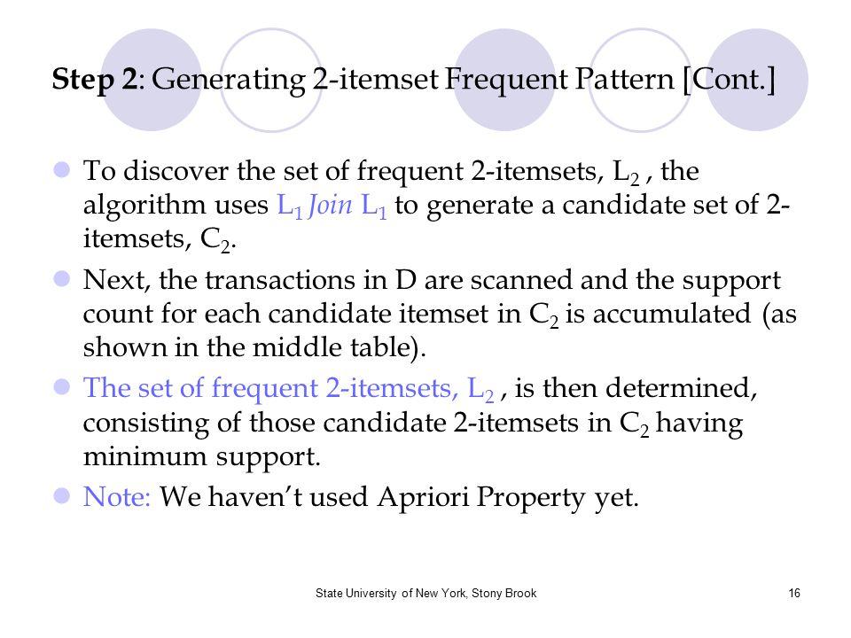 State University of New York, Stony Brook17 Step 3 : Generating 3-itemset Frequent Pattern Itemset {I1, I2, I3} {I1, I2, I5} ItemsetSup.