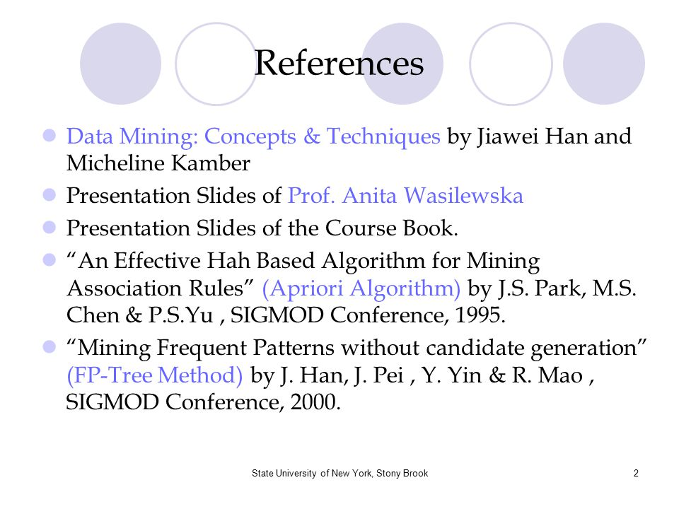 State University of New York, Stony Brook3 Overview Basic Concepts of Association Rule Mining The Apriori Algorithm (Mining single dimensional boolean association rules) Methods to Improve Apriori's Efficiency Frequent-Pattern Growth (FP-Growth) Method From Association Analysis to Correlation Analysis Summary