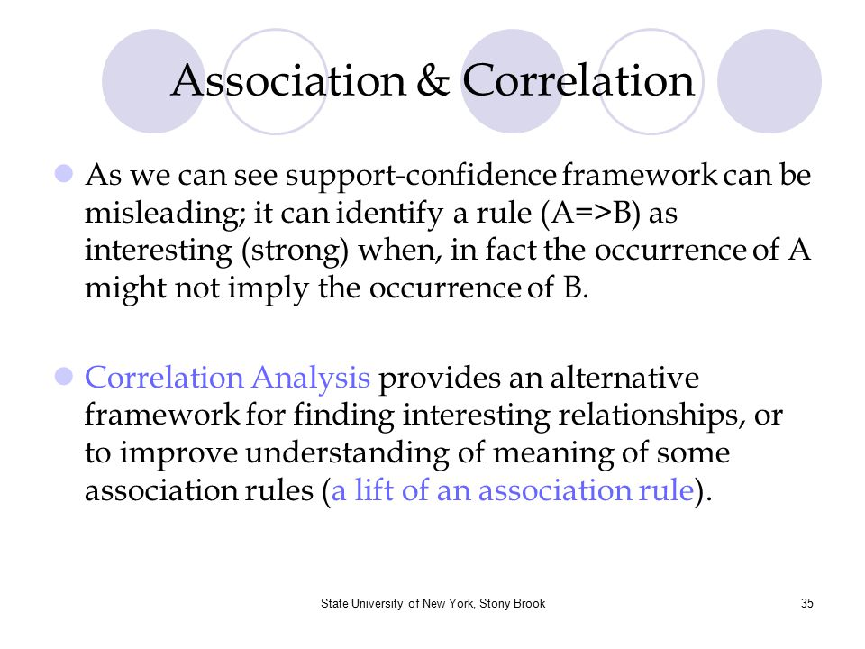 State University of New York, Stony Brook36 Correlation Concepts Two item sets A and B are independent (the occurrence of A is independent of the occurrence of item set B) iff P(A  B) = P(A)  P(B) Otherwise A and B are dependent and correlated The measure of correlation, or correlation between A and B is given by the formula: Corr(A,B)= P(A U B ) / P(A).