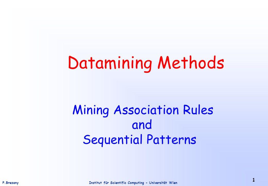 Institut für Scientific Computing - Universität WienP.Brezany 1 Datamining Methods Mining Association Rules and Sequential Patterns