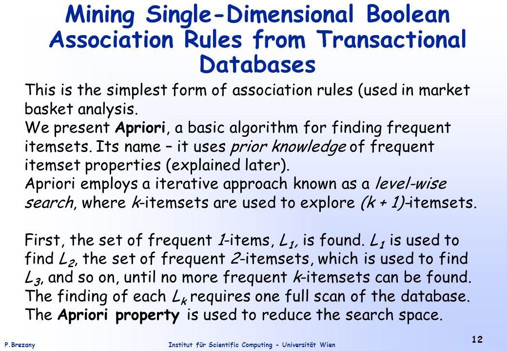 Institut für Scientific Computing - Universität WienP.Brezany 12 Mining Single-Dimensional Boolean Association Rules from Transactional Databases This