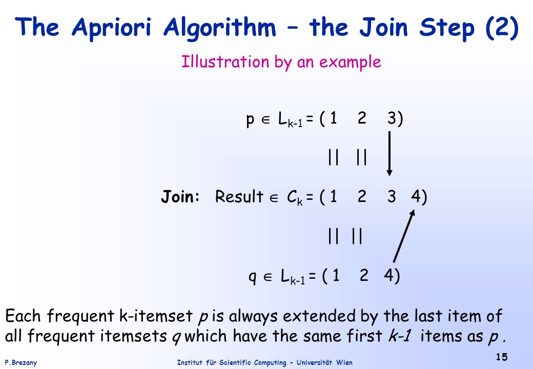 Institut für Scientific Computing - Universität WienP.Brezany 15 The Apriori Algorithm – the Join Step (2) Illustration by an example p  L k-1 = ( 1 2 3) || || Join: Result  C k = ( 1 2 3 4) || || q  L k-1 = ( 1 2 4) Each frequent k-itemset p is always extended by the last item of all frequent itemsets q which have the same first k-1 items as p.