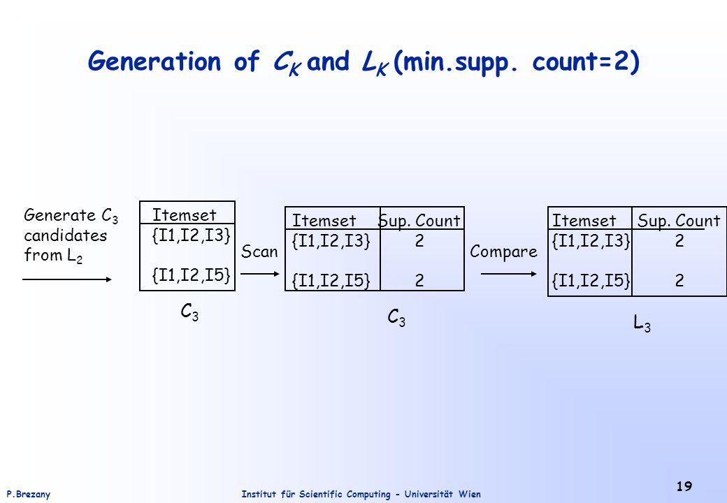 Institut für Scientific Computing - Universität WienP.Brezany 19 Generation of C K and L K (min.supp. count=2) Generate C 3 candidates from L 2 Itemse