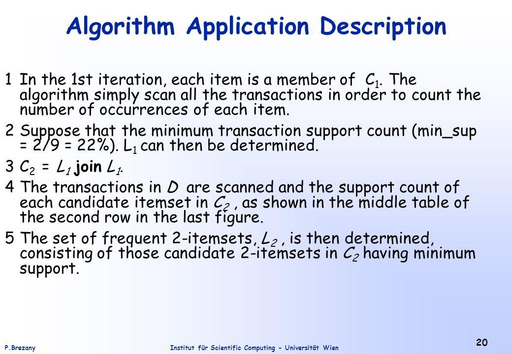 Institut für Scientific Computing - Universität WienP.Brezany 20 Algorithm Application Description 1In the 1st iteration, each item is a member of C 1