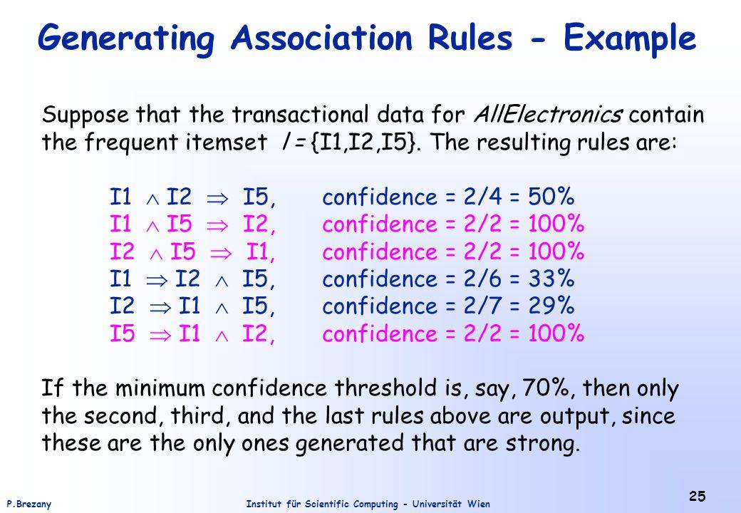 Institut für Scientific Computing - Universität WienP.Brezany 25 Generating Association Rules - Example Suppose that the transactional data for AllEle
