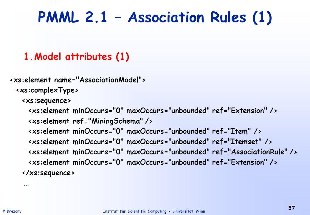 Institut für Scientific Computing - Universität WienP.Brezany 37 PMML 2.1 – Association Rules (1) 1.Model attributes (1) …
