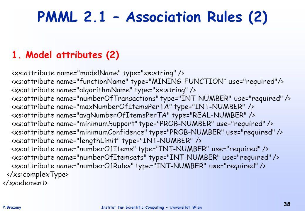 Institut für Scientific Computing - Universität WienP.Brezany 38 PMML 2.1 – Association Rules (2) 1. Model attributes (2)