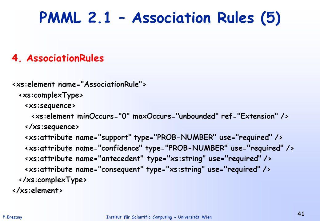 Institut für Scientific Computing - Universität WienP.Brezany 41 PMML 2.1 – Association Rules (5) 4. AssociationRules