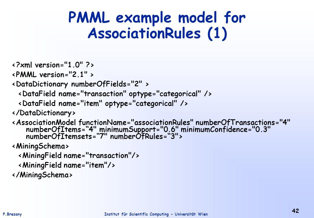 Institut für Scientific Computing - Universität WienP.Brezany 42 PMML example model for AssociationRules (1)