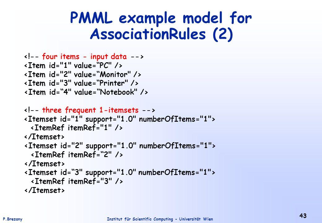 Institut für Scientific Computing - Universität WienP.Brezany 43 PMML example model for AssociationRules (2)