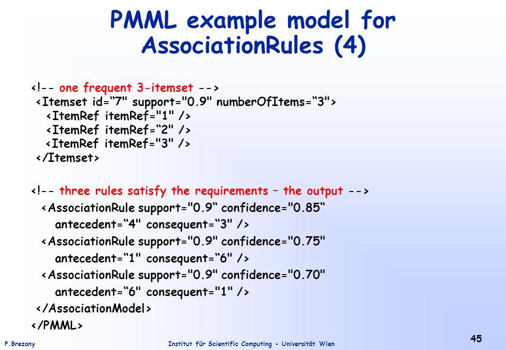 Institut für Scientific Computing - Universität WienP.Brezany 45 PMML example model for AssociationRules (4) <AssociationRule support=