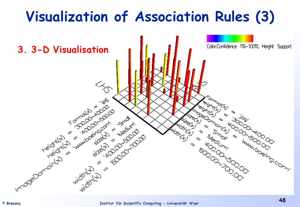 Institut für Scientific Computing - Universität WienP.Brezany 48 Visualization of Association Rules (3) 3. 3-D Visualisation