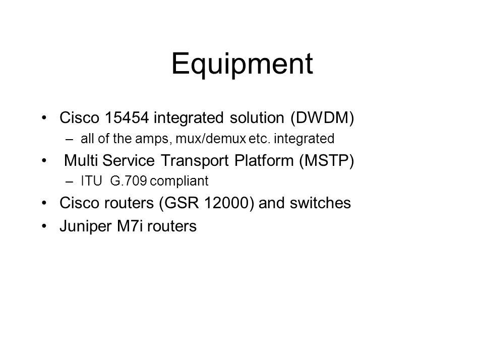Equipment Cisco 15454 integrated solution (DWDM) –all of the amps, mux/demux etc. integrated Multi Service Transport Platform (MSTP) –ITU G.709 compli