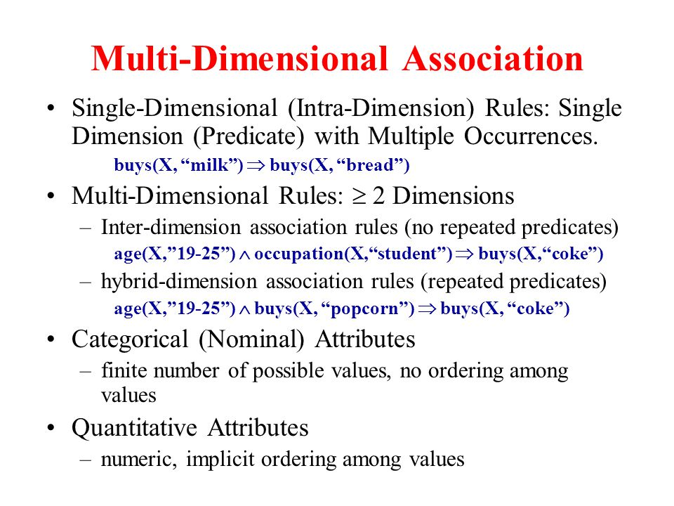 "Multi-Dimensional Association Single-Dimensional (Intra-Dimension) Rules: Single Dimension (Predicate) with Multiple Occurrences. buys(X, ""milk"")  bu"