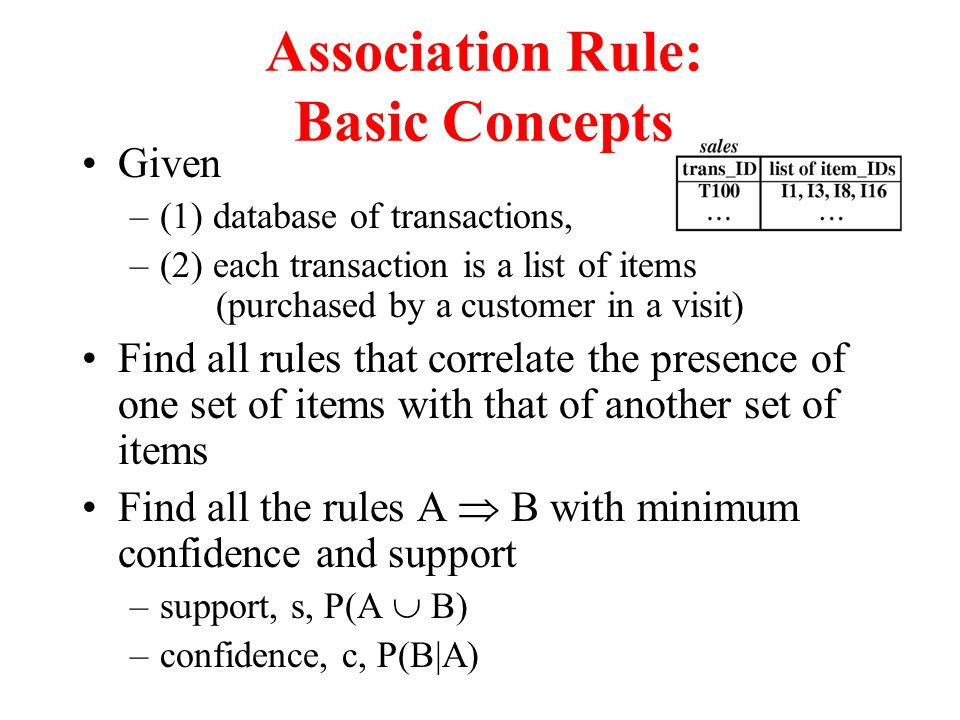 Association Rule: Basic Concepts Given –(1) database of transactions, –(2) each transaction is a list of items (purchased by a customer in a visit) Find all rules that correlate the presence of one set of items with that of another set of items Find all the rules A  B with minimum confidence and support –support, s, P(A  B) –confidence, c, P(B|A)