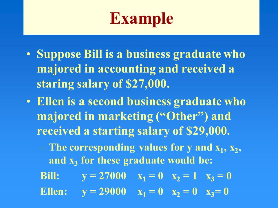Example Suppose Bill is a business graduate who majored in accounting and received a staring salary of $27,000.