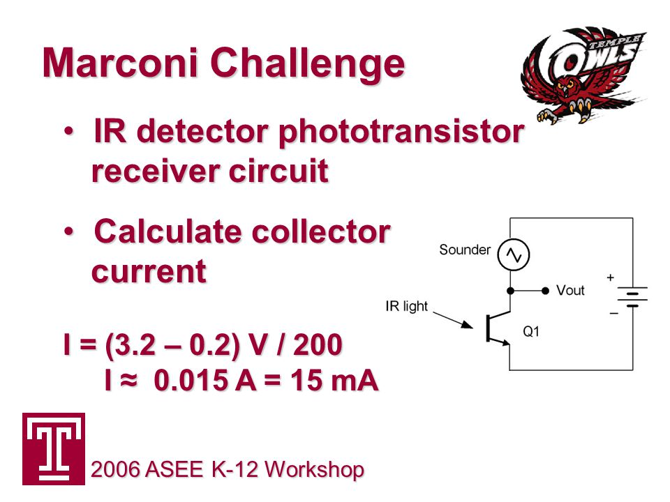 Marconi Challenge 2006 ASEE K-12 Workshop IR detector phototransistor receiver circuit IR detector phototransistor receiver circuit Calculate collector current I = (3.2 – 0.2) V / 200 I ≈ 0.015 A = 15 mA Calculate collector current I = (3.2 – 0.2) V / 200 I ≈ 0.015 A = 15 mA