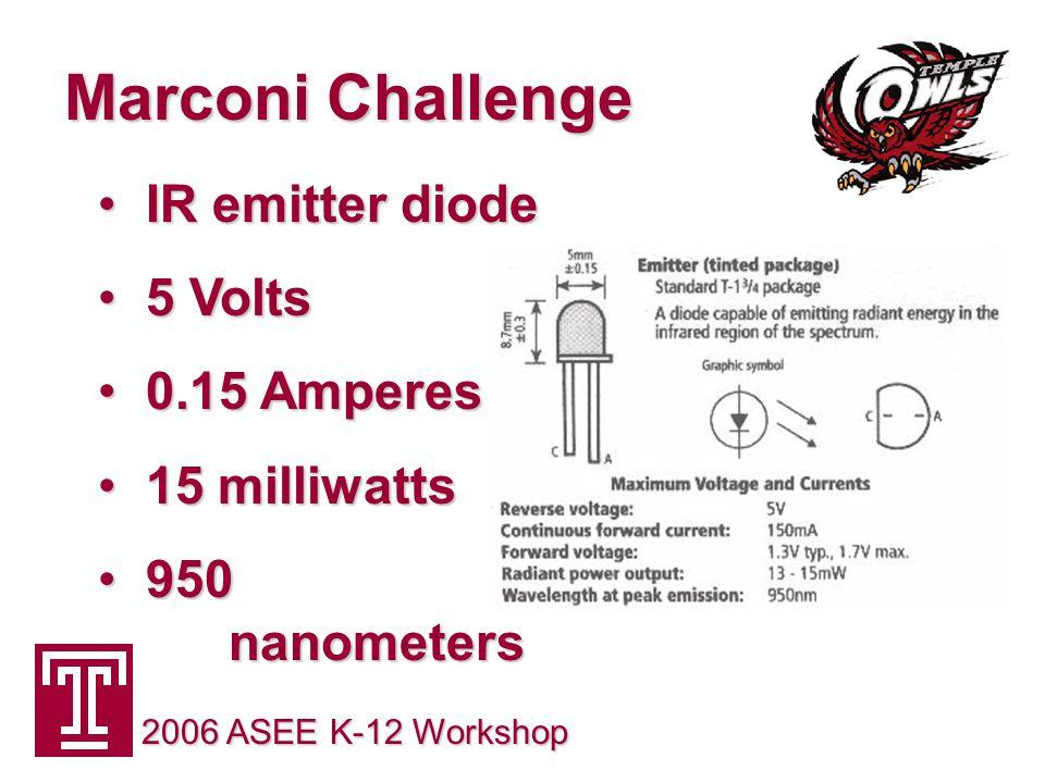 Marconi Challenge 2006 ASEE K-12 Workshop IR emitter diode IR emitter diode 5 Volts 5 Volts 0.15 Amperes 0.15 Amperes 15 milliwatts 15 milliwatts 950 nanometers 950 nanometers