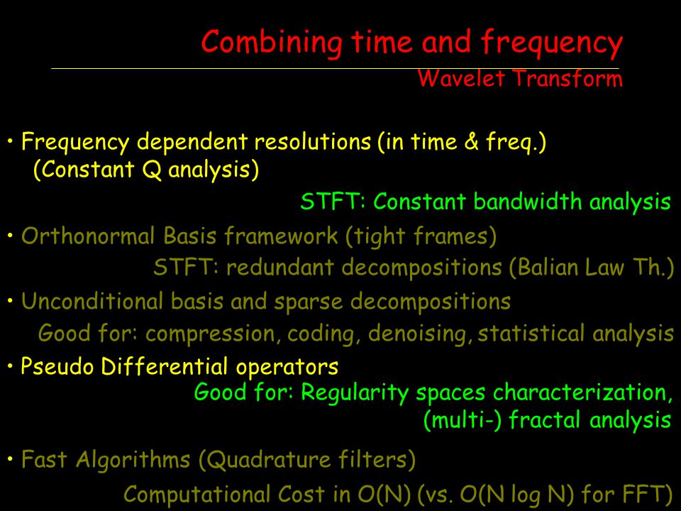 Frequency dependent resolutions (in time & freq.) (Constant Q analysis) Orthonormal Basis framework (tight frames) Unconditional basis and sparse deco