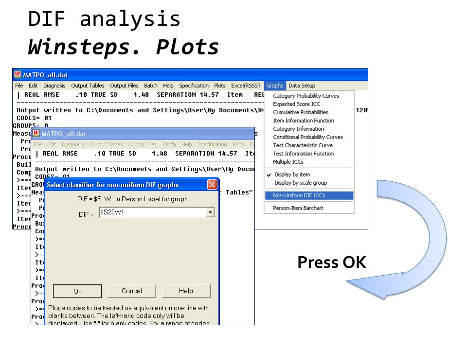 DIF analysis Winsteps. Plots Press OK