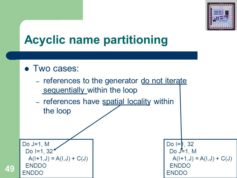 49 Acyclic name partitioning Two cases: – references to the generator do not iterate sequentially within the loop – references have spatial locality within the loop Do I=1, 32 Do J=1, M A(I+1,J) = A(I,J) + C(J) ENDDO Do J=1, M Do I=1, 32 A(I+1,J) = A(I,J) + C(J) ENDDO