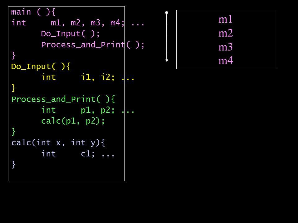 m1 m2 m3 m4 main ( ){ int m1, m2, m3, m4;...