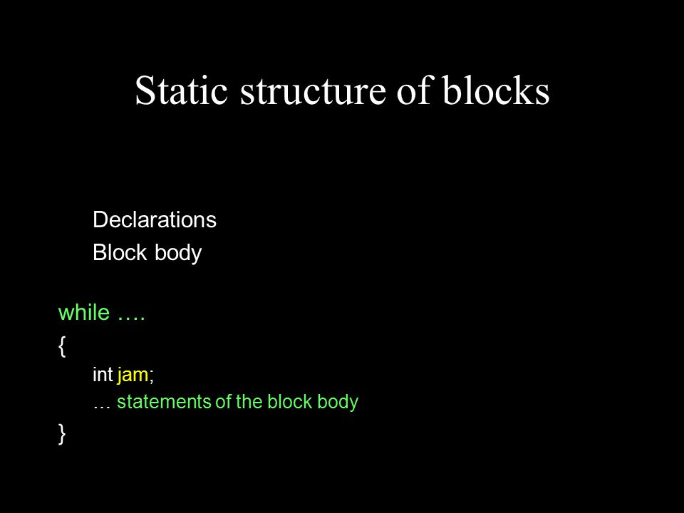 Static structure of blocks Declarations Block body while ….