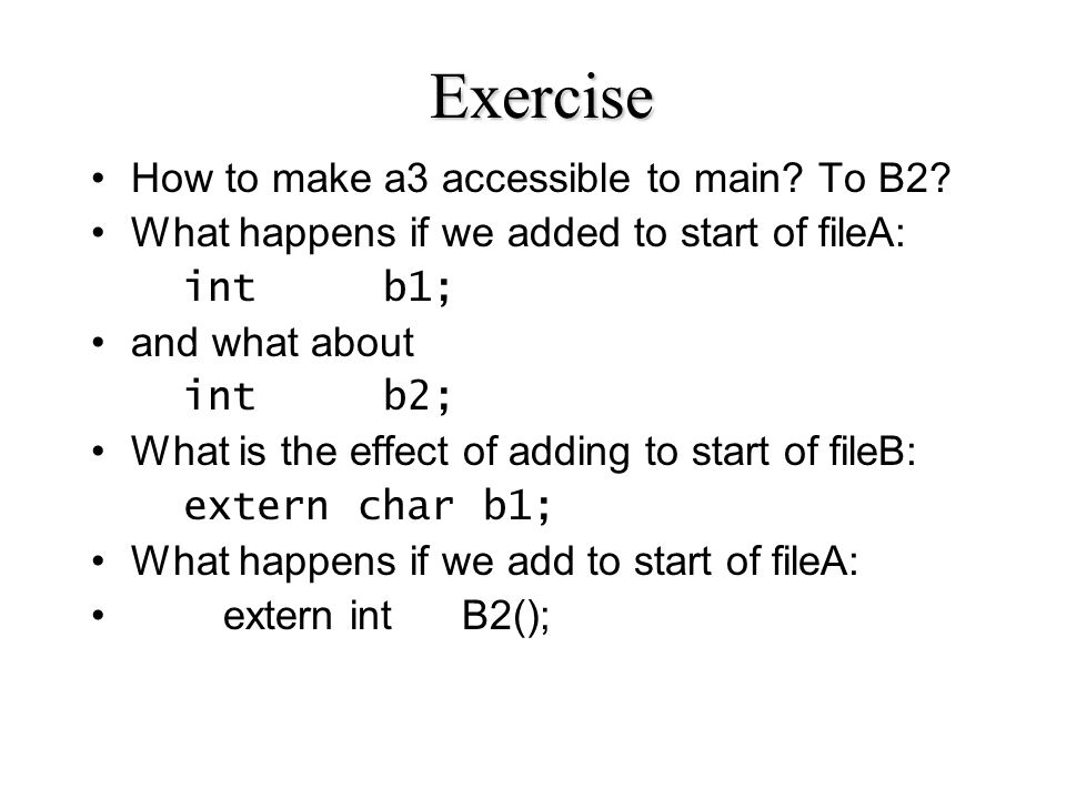 Exercise How to make a3 accessible to main. To B2.