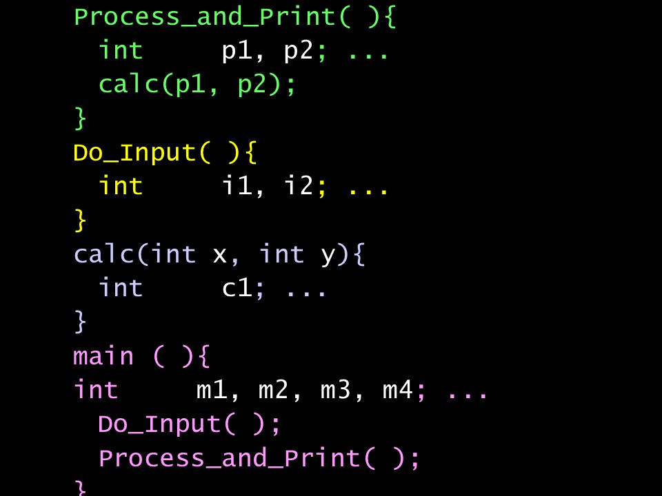 Process_and_Print( ){ int p1, p2;... calc(p1, p2); } Do_Input( ){ int i1, i2;...
