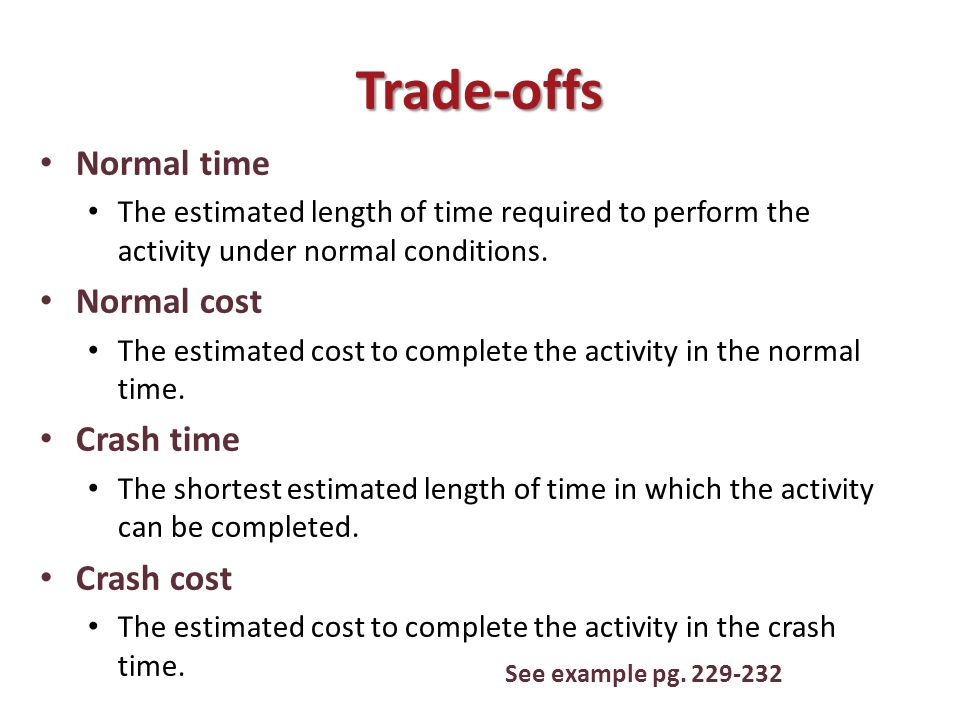 Trade-offs Normal time The estimated length of time required to perform the activity under normal conditions.