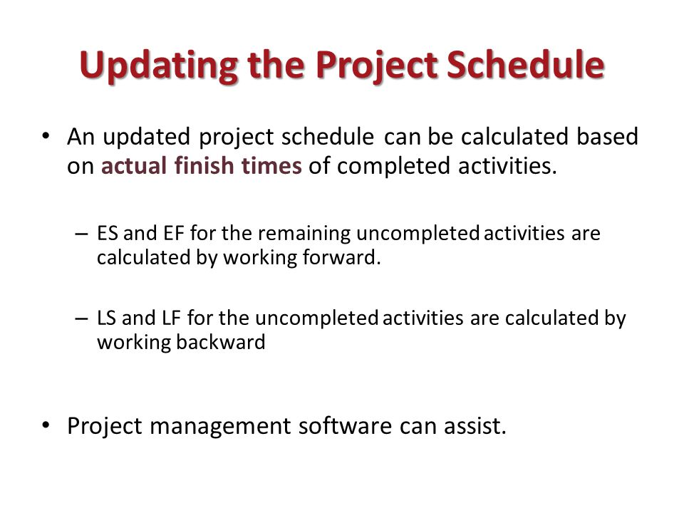 Updating the Project Schedule An updated project schedule can be calculated based on actual finish times of completed activities.