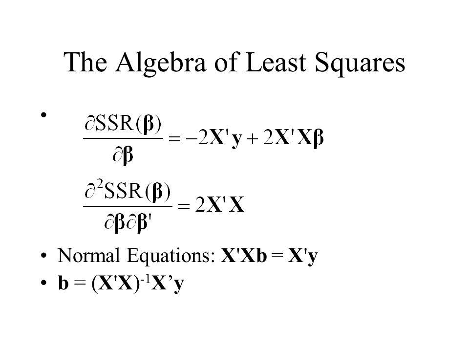The Algebra of Least Squares Normal Equations: X'Xb = X'y b = (X'X) -1 X'y