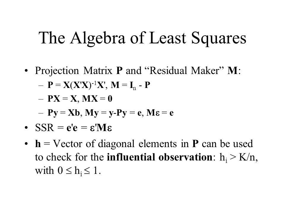 "The Algebra of Least Squares Projection Matrix P and ""Residual Maker"" M: –P = X(X'X) -1 X', M = I n - P –PX = X, MX = 0 –Py = Xb, My = y-Py = e, M  ="
