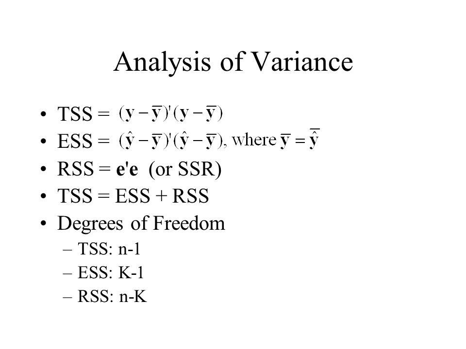 Analysis of Variance TSS = ESS = RSS = e'e (or SSR) TSS = ESS + RSS Degrees of Freedom –TSS: n-1 –ESS: K-1 –RSS: n-K