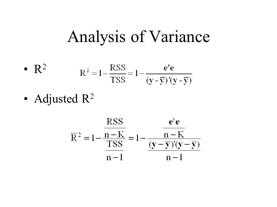 Analysis of Variance R 2 Adjusted R 2