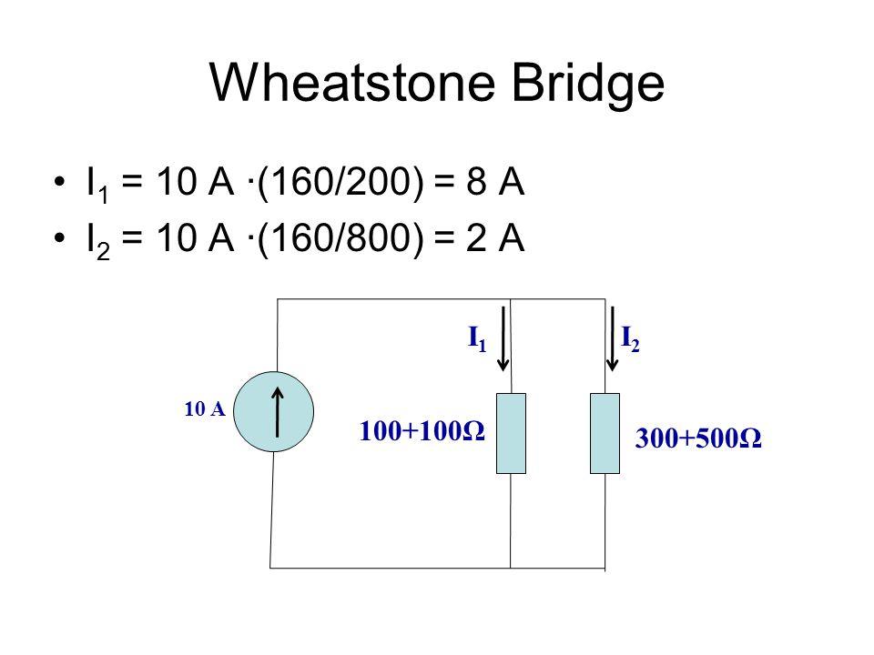 Wheatstone Bridge I 1 = 10 A ∙(160/200) = 8 A I 2 = 10 A ∙(160/800) = 2 A 10 A 100+100Ω 300+500Ω I2I2 I1I1