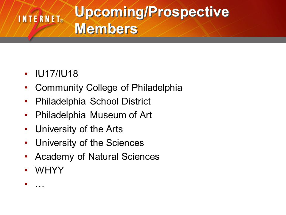 Upcoming/Prospective Members IU17/IU18 Community College of Philadelphia Philadelphia School District Philadelphia Museum of Art University of the Arts University of the Sciences Academy of Natural Sciences WHYY …