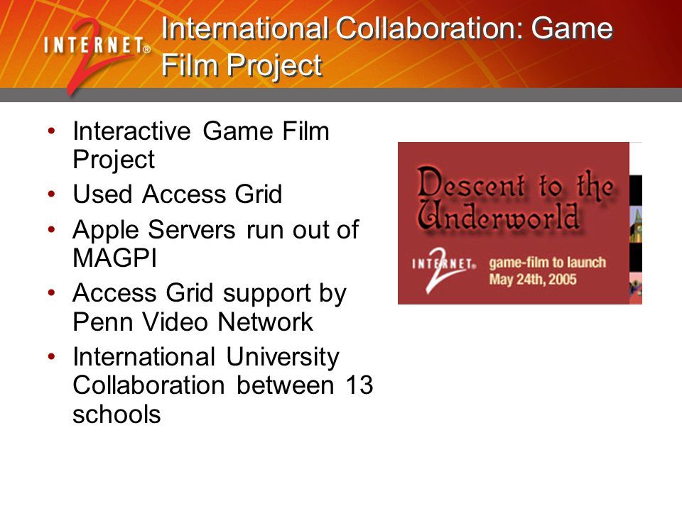 International Collaboration: Game Film Project Interactive Game Film Project Used Access Grid Apple Servers run out of MAGPI Access Grid support by Pe