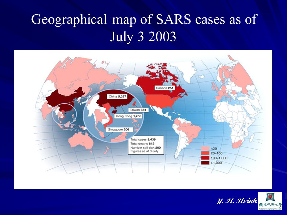 Y. H. Hsieh Geographical map of SARS cases as of July 3 2003